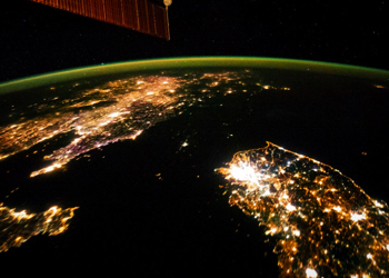 City lights of Earth from orbit