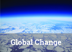 """Image of earth's horizon from low earth orbit with """"Global Change"""" label."""